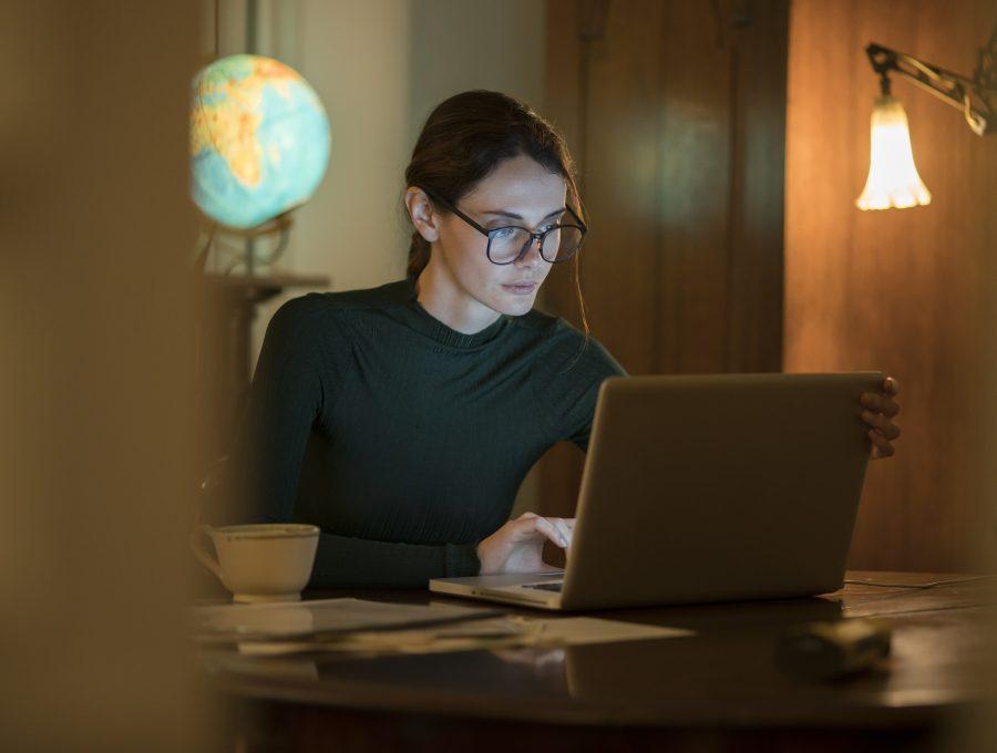 Home night work woman study