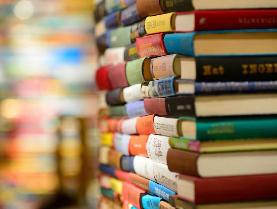 Colourful stacks of books